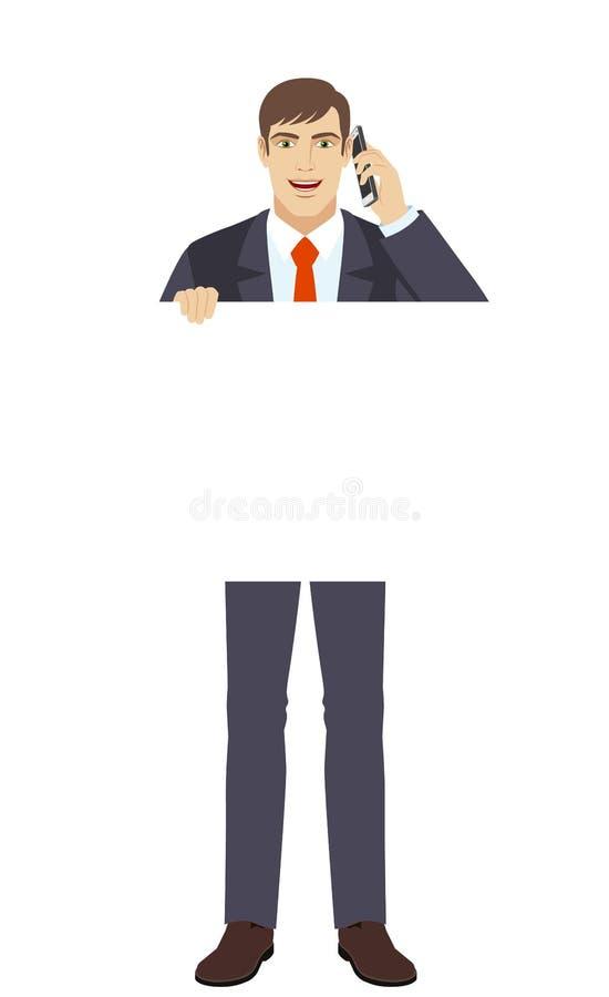 För vitmellanrum för affärsman hållande affisch och samtal på mobilen vektor illustrationer