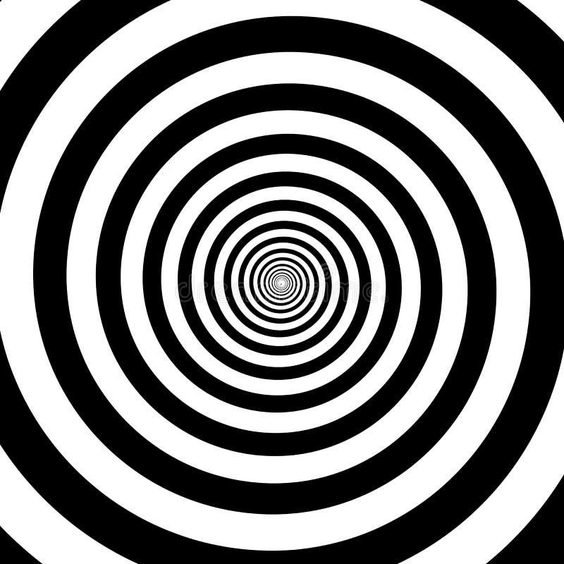 För vitsvart för hypnotiska cirklar abstrakt bakgrund för modell för virvel för spiral för vektor för optisk illusion stock illustrationer