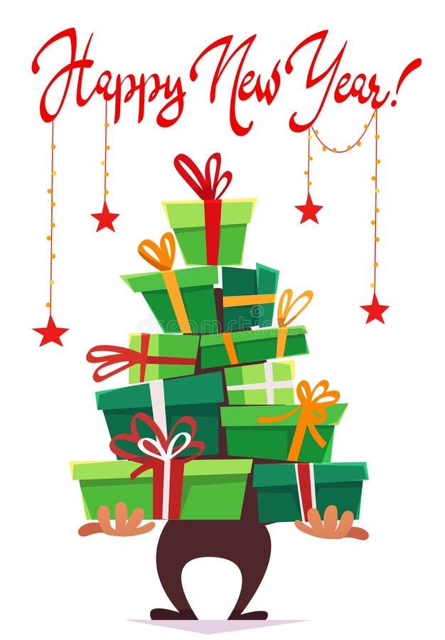 För vykorthälsningen för det lyckliga nya året inbjudan för partiet, lott många gåvaaskar av gåvor staplar formen för trädet för  stock illustrationer