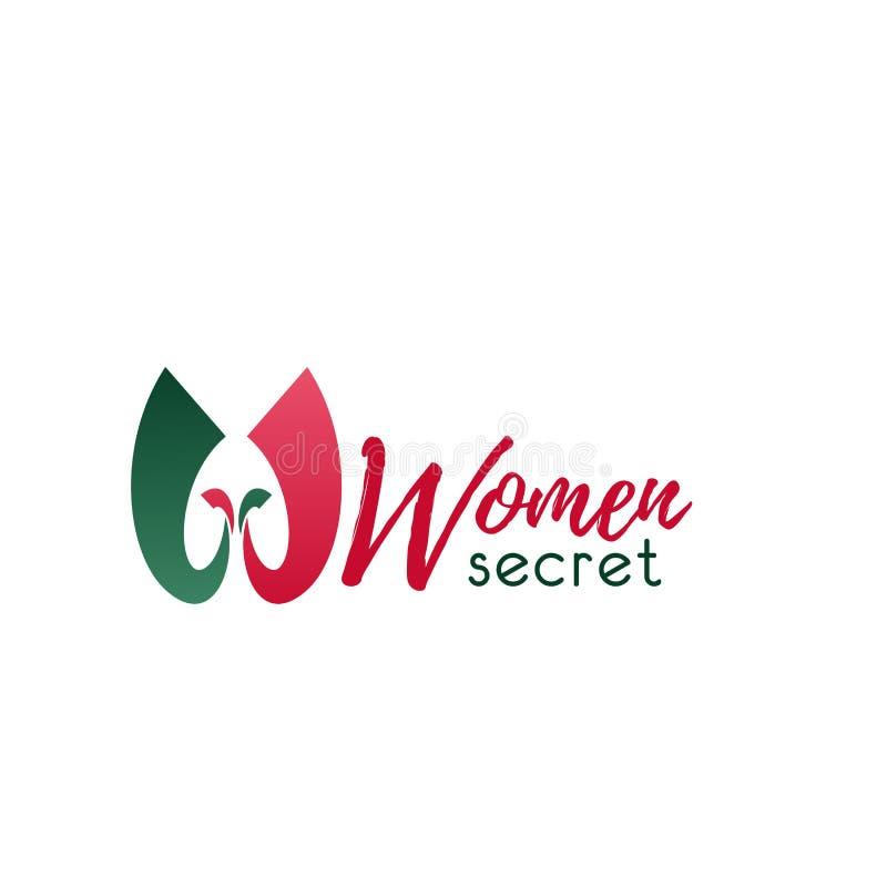 För W-bokstav för kvinnor hemlig symbol för vektor stock illustrationer