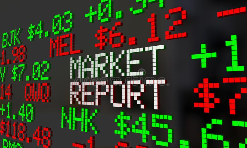 För Wall Street för materiel för nyheterna för marknadsrapport Ticker 3d Illustratio pris vektor illustrationer