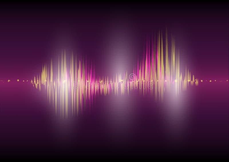 För waveformteknologi för mång- färg ljudsignal för Digital för bakgrund bild för vektor för abstrakt begrepp för teknologi utjäm stock illustrationer
