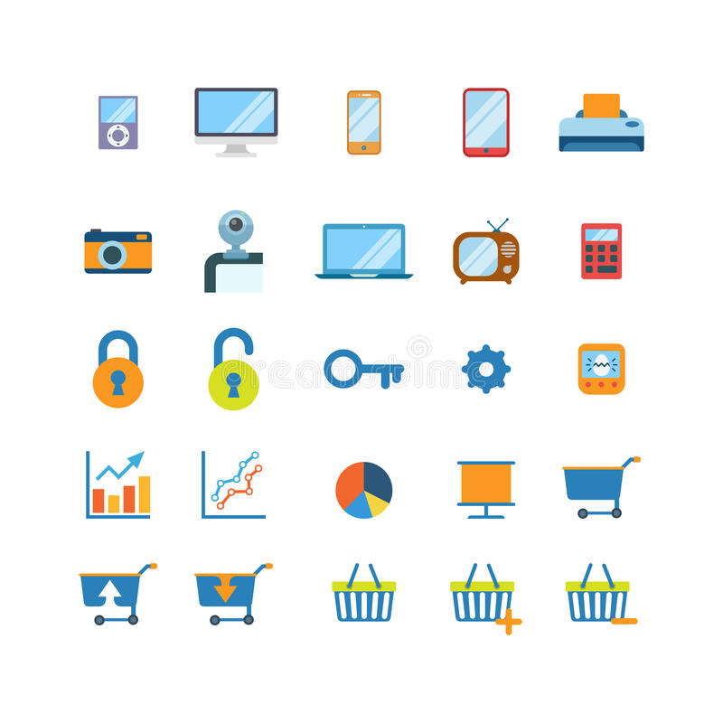För websiteapp för plan vektor mobila symboler: minnestavla för telefon för shoppingvagn stock illustrationer