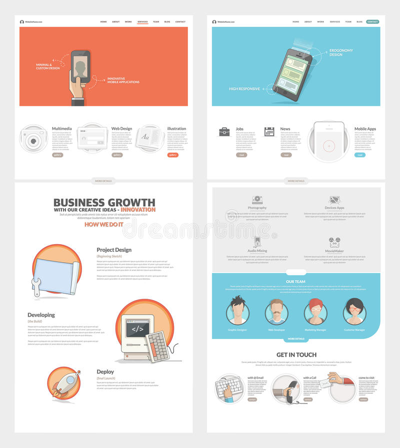 För Websitedesign för två sida mall med begreppssymboler och avatars för portfölj för affärsföretag royaltyfri illustrationer