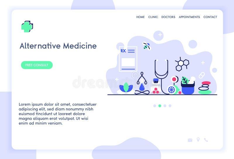 För websitemall för alternativ medicin design arkivfoton