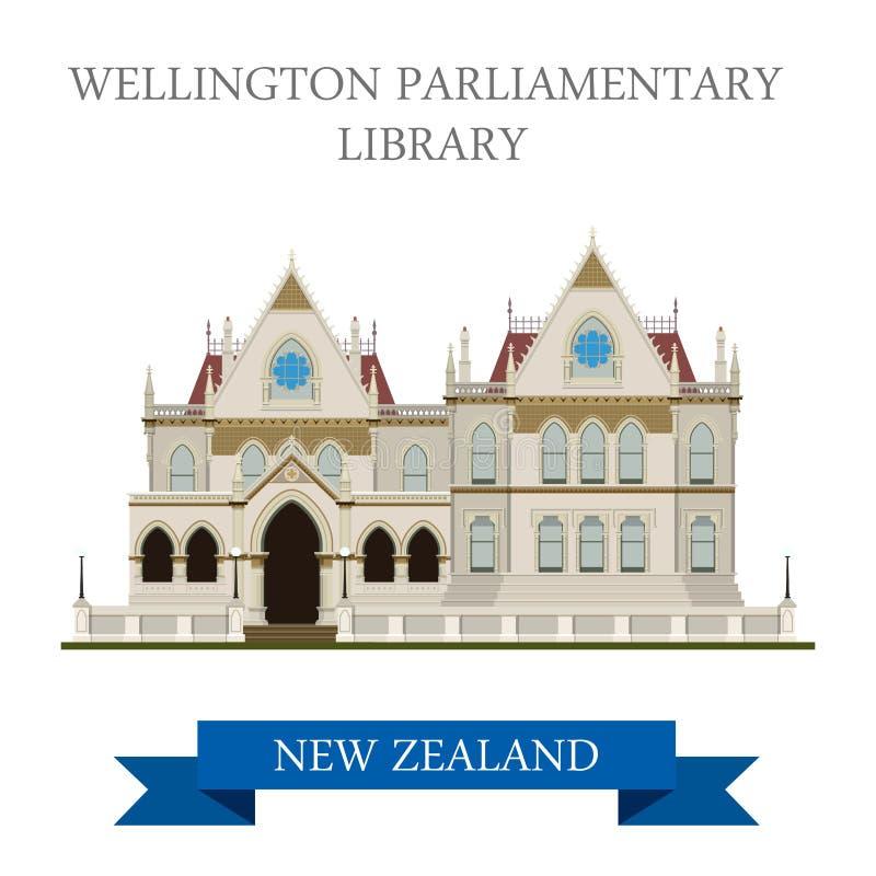 För Wellington New Zealand för parlamentariskt arkiv dragning vektor vektor illustrationer
