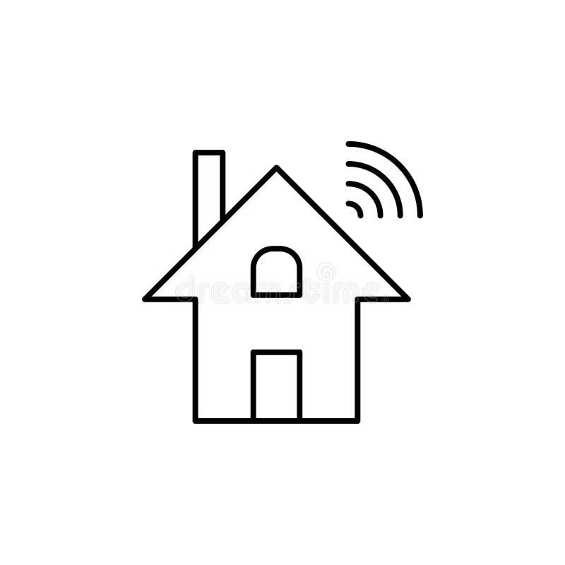 För wi-fi för robotteknikdominoticshem symbol översikt Tecknet och symboler kan användas för rengöringsduken, logoen, den mobila  royaltyfri illustrationer