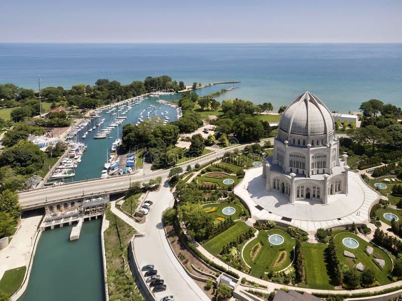 För Wilmette för tempel för Baha ` I antenn hamn royaltyfri fotografi