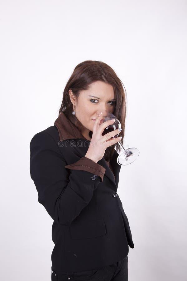 för winekvinna för attraktiv affär dricka barn arkivfoton