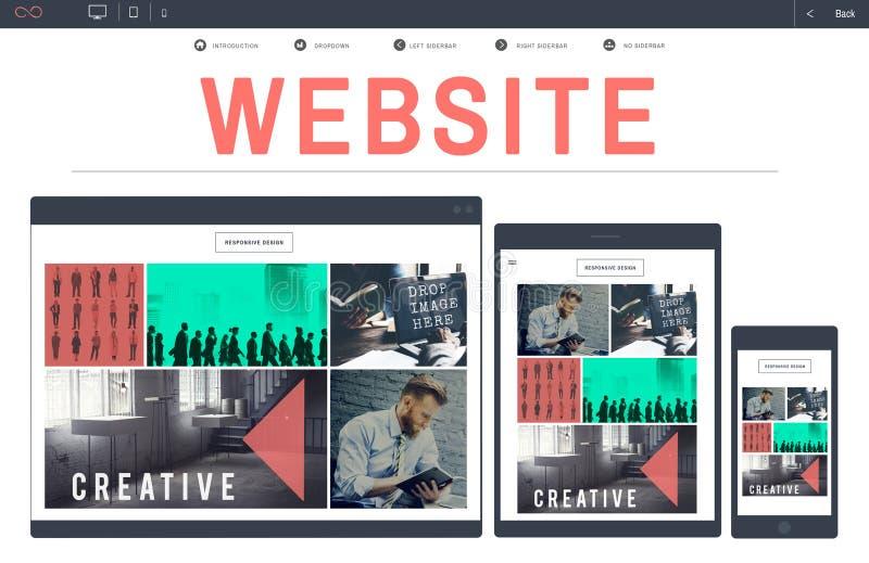 För WWW för Websiterengöringsdukdesign begrepp för apparat Homepage Digital arkivbild