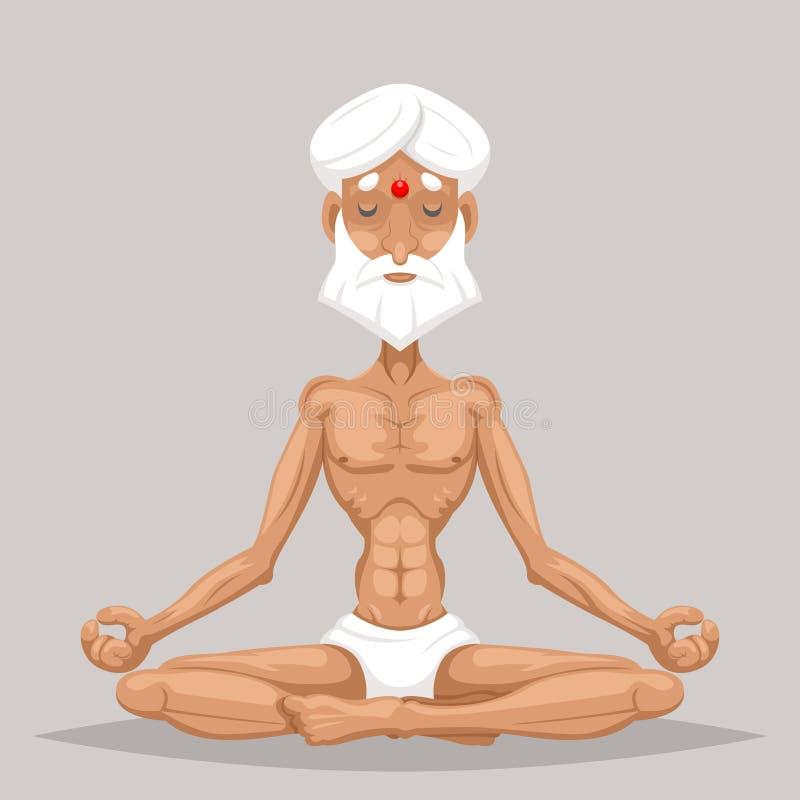 För yogaförlage för meditation illustration för vektor för design för symbol för tecken för tecknad film för äldre gammal vishet  royaltyfri illustrationer