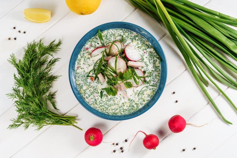 För yoghurtsoppa för sommar lägger den kalla för den Okroshka lägenheten bunken royaltyfri fotografi