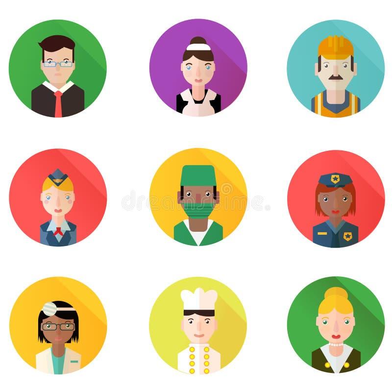 För yrkeavatars för cirkel plan uppsättning royaltyfri illustrationer