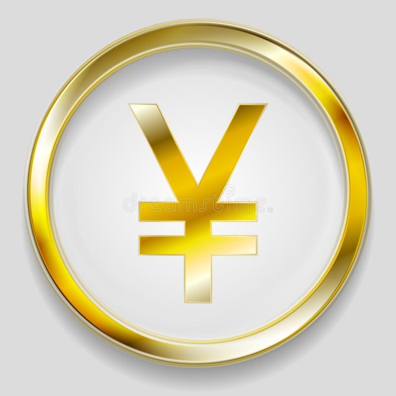 För yuansymbol för begrepp guld- knapp för logo vektor illustrationer