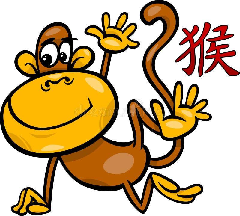 För zodiakhoroskop för apa kinesiskt tecken royaltyfri illustrationer
