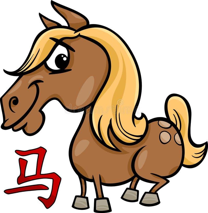 För zodiakhoroskop för häst kinesiskt tecken stock illustrationer