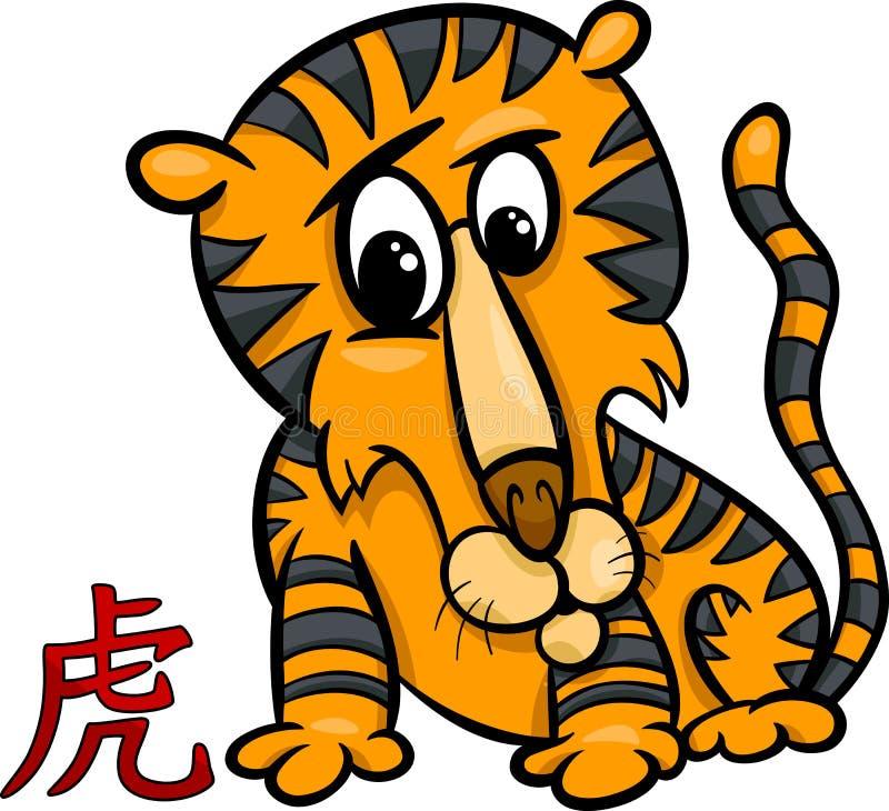 För zodiakhoroskop för tiger kinesiskt tecken royaltyfri illustrationer