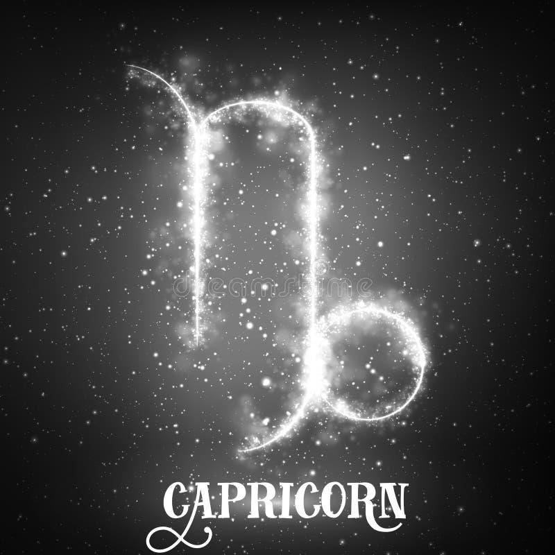 För zodiaktecken för vektor abstrakt Stenbocken på en mörk bakgrund av utrymmet med glänsande stjärnor royaltyfri illustrationer