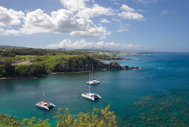 förankrade fjärdcatamarans hawaii pristine maui arkivfoton