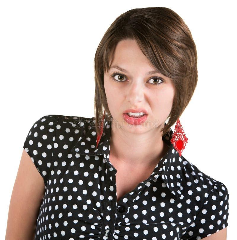 Förargad ung kvinna royaltyfri bild