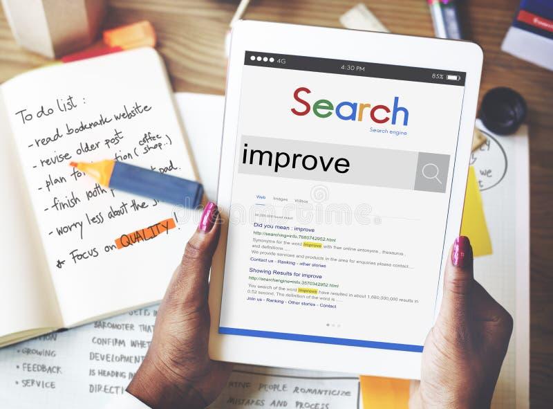 Förbättra begreppet för uppdateringen för tillväxtförbättringsinnovation arkivfoton