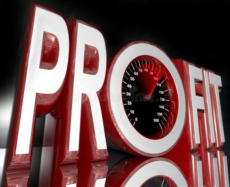 förbättra ordet för speedometeren för vinstintäktförsäljningar royaltyfri illustrationer