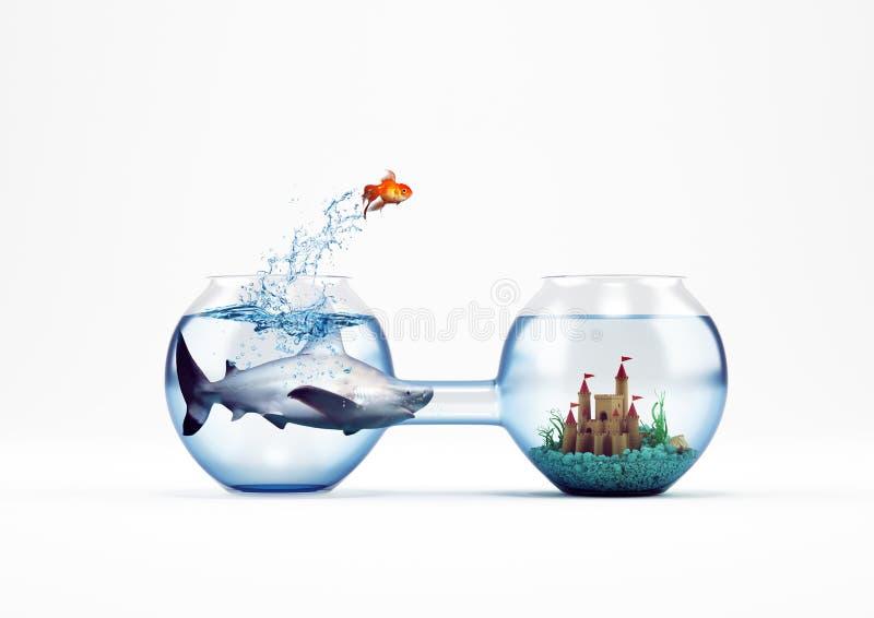 Förbättrings- och framstegbegrepp med ett hopp av tolkningen för guldfisk 3D royaltyfri illustrationer