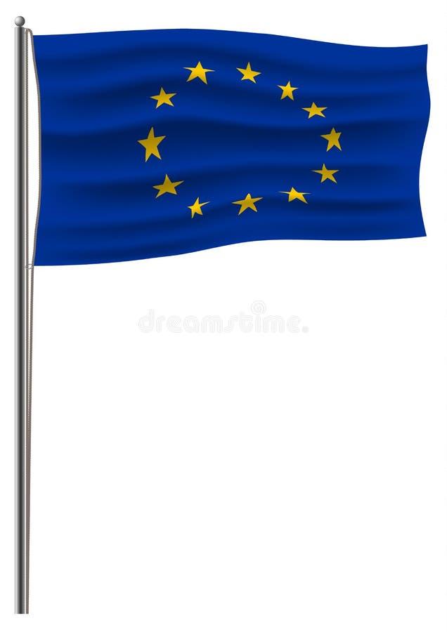 Förband den europeiska fackliga flaggan för den officiella vektorn till en metallflaggstång vid ett rep Isolerat på den vita flag royaltyfri illustrationer