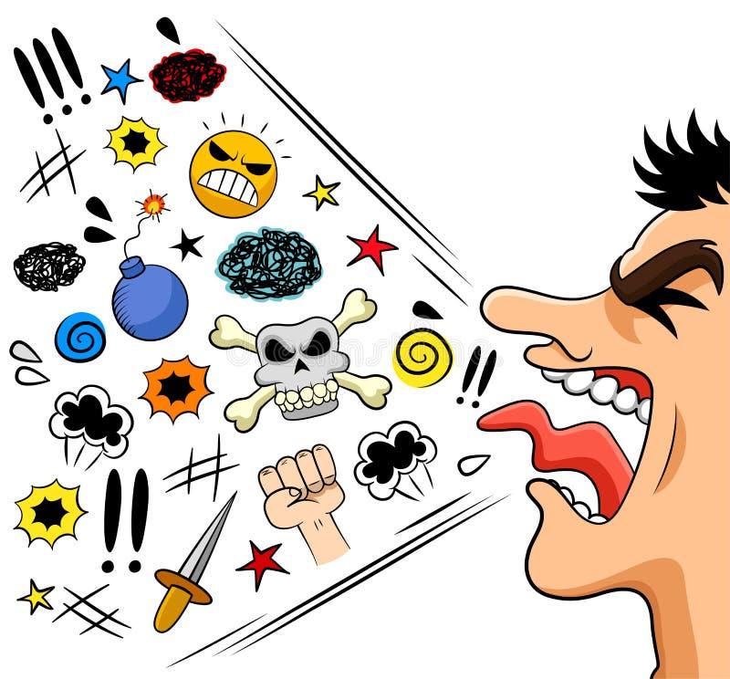 Förbanna mannen stock illustrationer