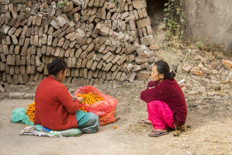 Förbereda sig för feriediwalien två nepalesiska kvinnor sitter på jordningen nära en påse av orange blommor fotografering för bildbyråer
