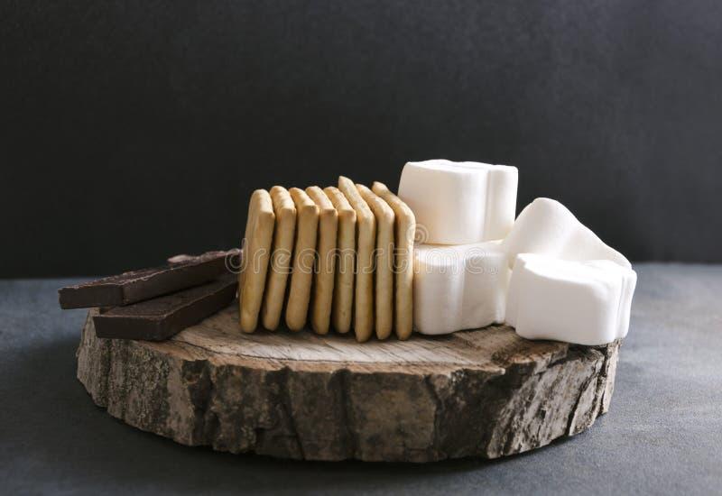Förberedda ingredienser för rostat bröds sedvänjor, rusric stil royaltyfri bild
