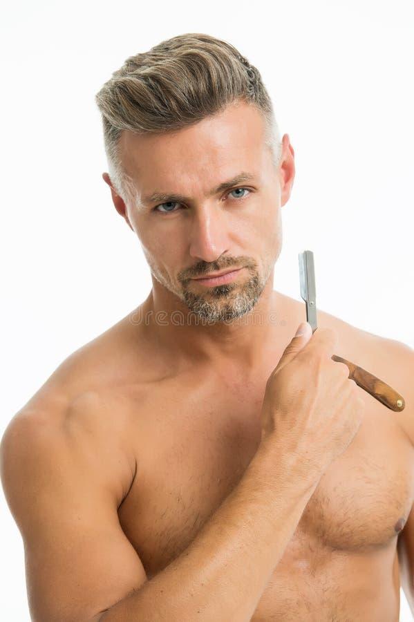 Förberedelse för bekvämt raka Gyllene regler av att raka Barberarefrisör- och självomsorg Manlig mode och sk?nhet royaltyfri fotografi