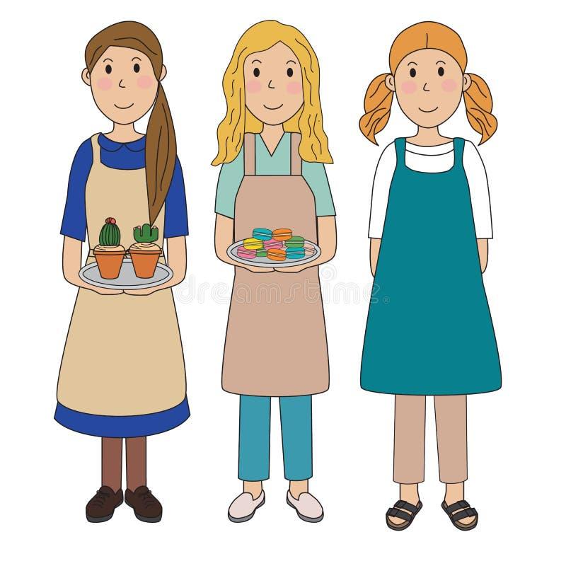 Förbereder det kvinnliga bärande förklädet för kvinnaflickor att laga mat illustration EPS10 vektor vektor illustrationer