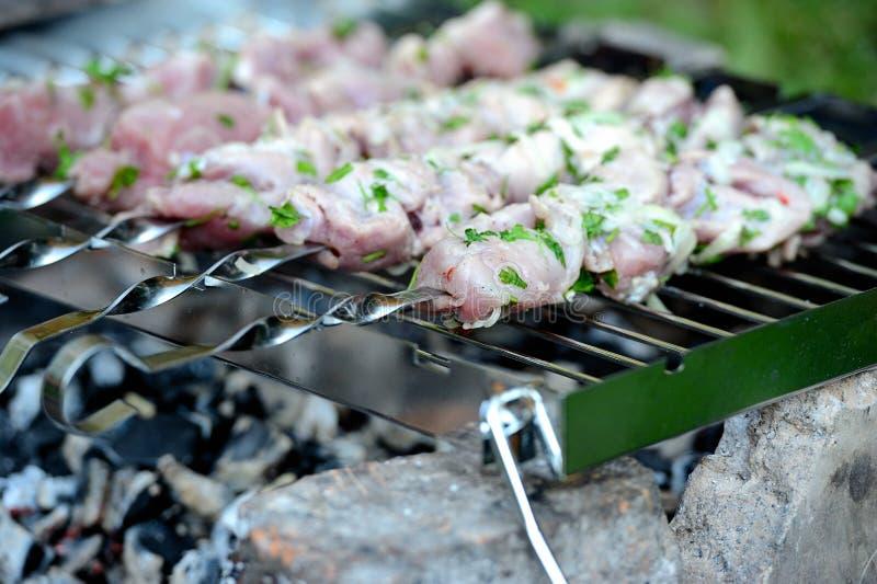 förbereder saftig meat för brand skivor arkivbild