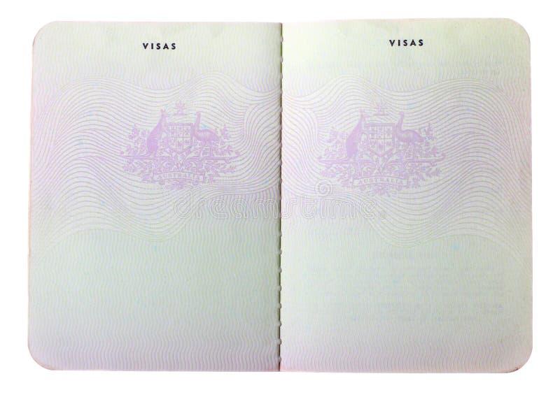Förbigå gammala australiensiska passsidor arkivfoton