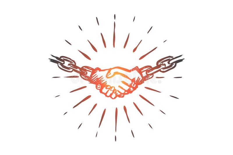 Förbind, avtala, överenskommelse, partnerskap, kommunikationsbegrepp Hand dragen isolerad vektor vektor illustrationer