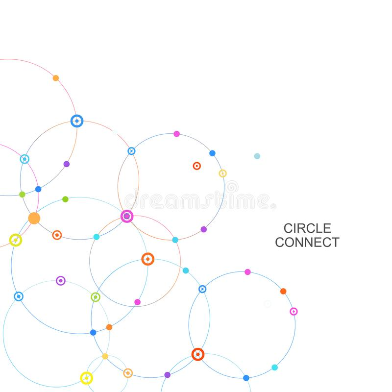 Förbind cirkeln och peka med genomskärningar stock illustrationer
