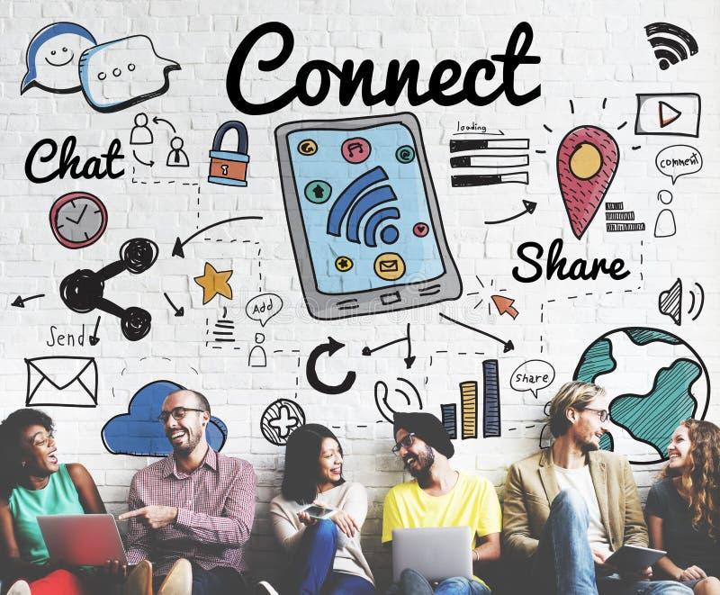 Förbind det sociala nätverkandebegreppet för socialt massmedia arkivfoton