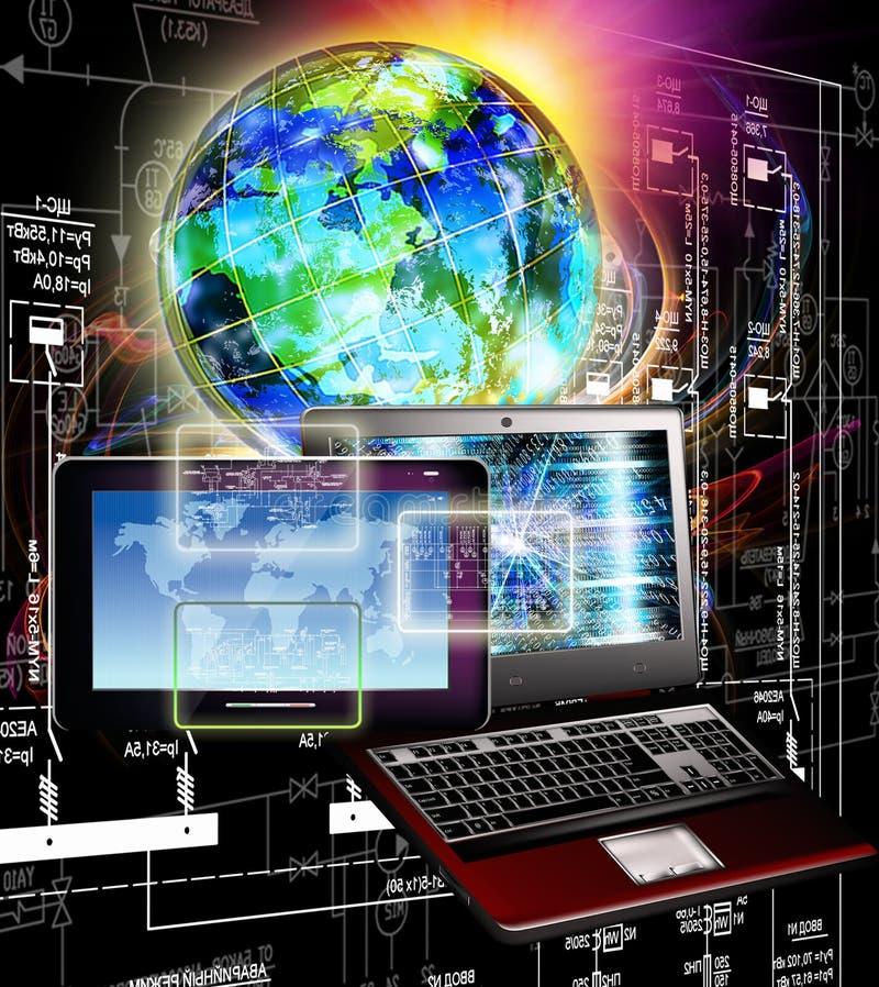 förbind Ny datateknik för utveckling Kommunikation royaltyfri fotografi