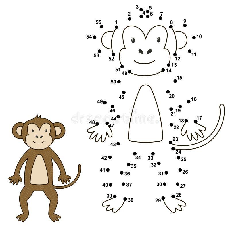 Förbind prickarna för att dra den gulliga apan och för att färga den vektor illustrationer