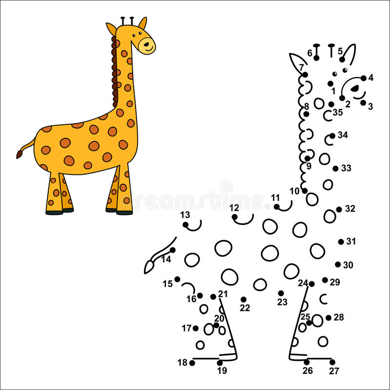 Förbind prickarna för att dra den gulliga giraffet och för att färga den royaltyfri illustrationer