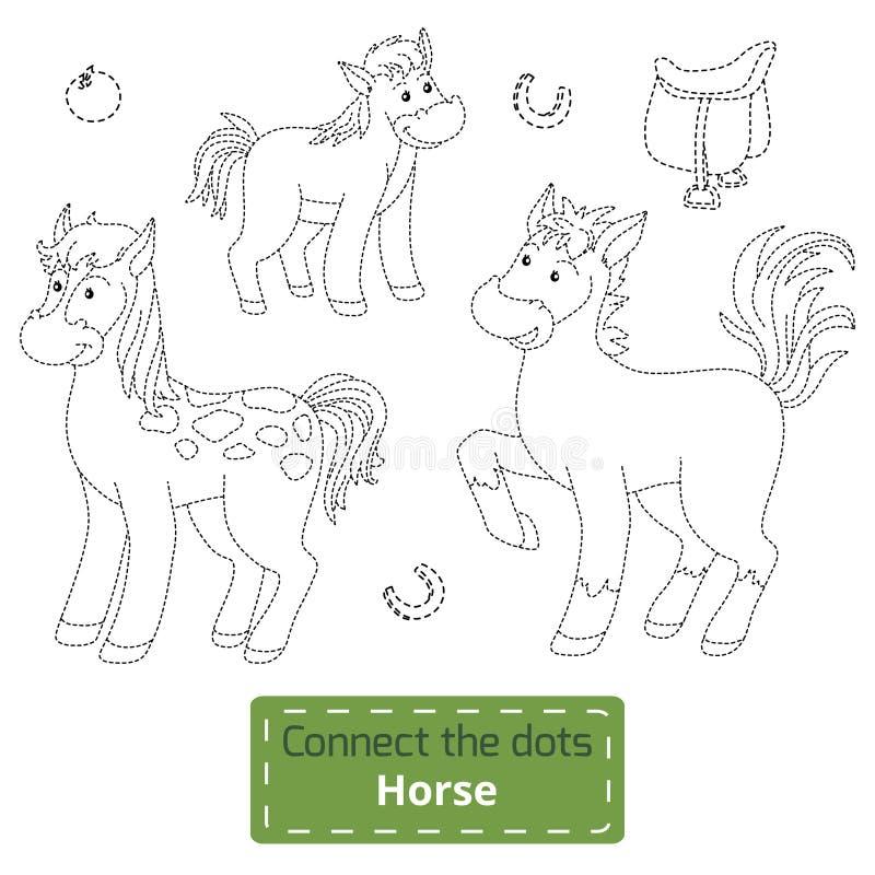 Förbind prickarna (lantgårddjur uppsättning, hästfamiljen) vektor illustrationer