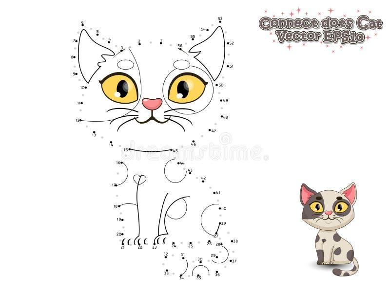 Förbind prickarna och måla den gulliga tecknad filmkatten Bildande lek fo vektor illustrationer