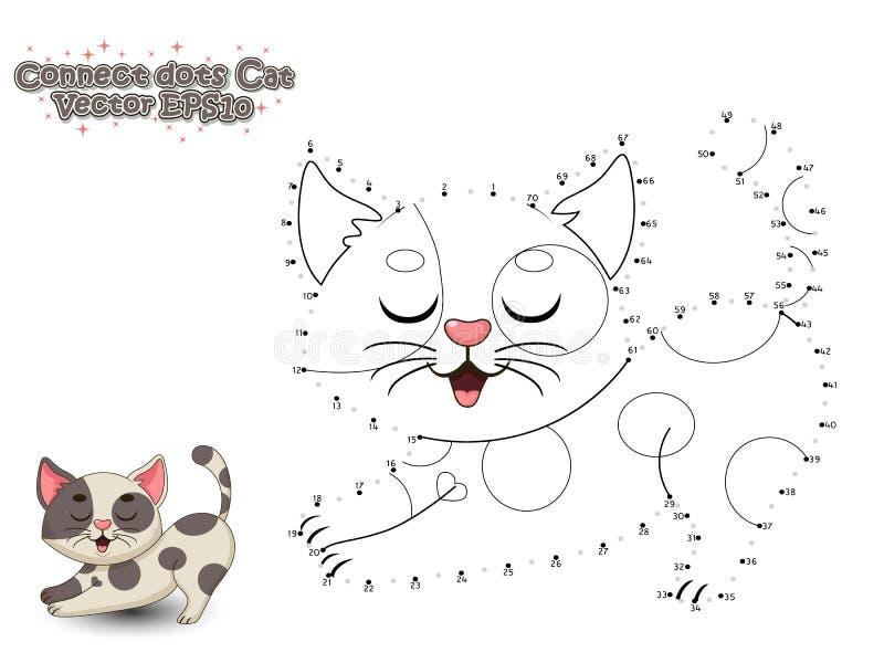 Förbind prickarna och måla den gulliga tecknad filmkatten Bildande lek fo royaltyfria bilder
