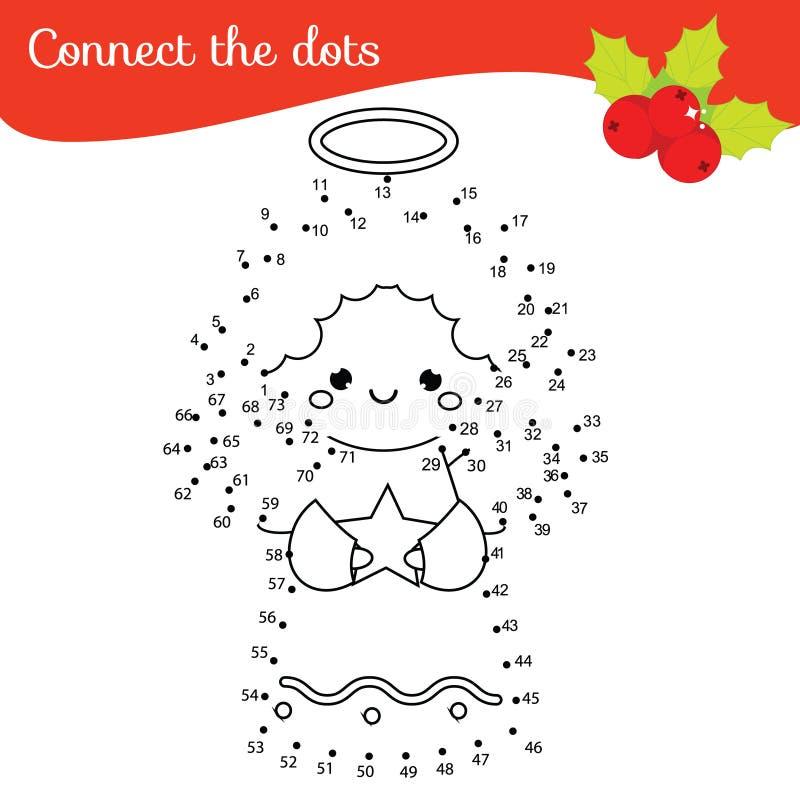 Förbind prickarna vid den bildande leken för nummerbarn Tema för nytt år, julängel royaltyfri illustrationer