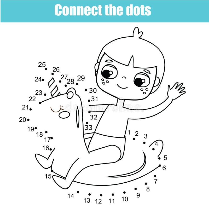 Förbind prickarna vid den bildande leken för nummerbarn Tema för sommarferier, tecknad filmpojke på den uppblåsbara cirkeln stock illustrationer