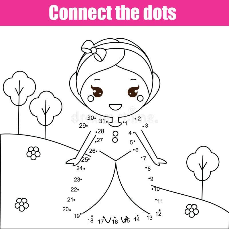 Förbind prickarna vid den bildande leken för nummerbarn Tryckbar arbetssedelaktivitet med prinsessan vektor illustrationer