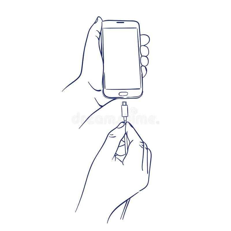 Förbind uppladdaren till den smarta mobiltelefonen royaltyfri illustrationer