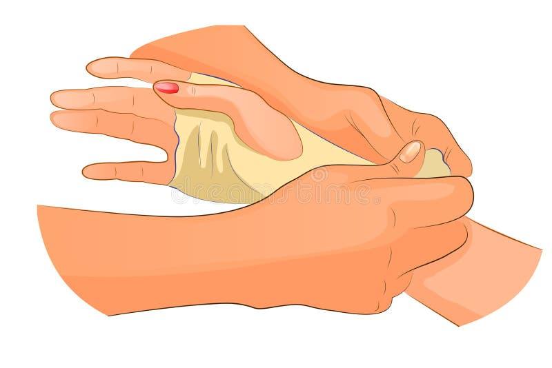 Förbinda i fall att av skada av handledskarven stock illustrationer