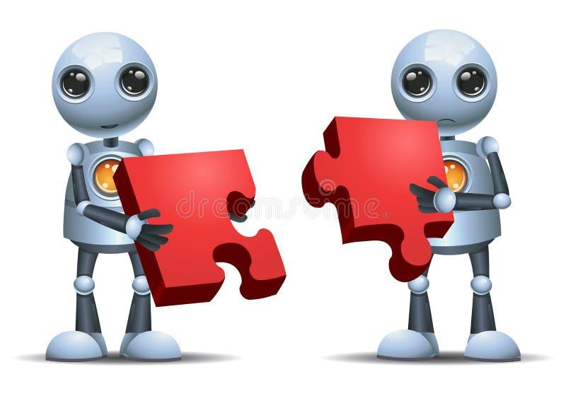 förbindande pussel för lycklig robot för droid liten på isolerat vektor illustrationer
